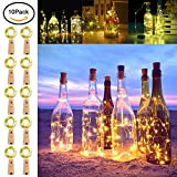 LAL 10 Packs Wine Bottle String Lights,20 LED Cork Shape Silver Copper Wire Colorful Fairy Mini String Lights Night Light Decoration for DIY,Party, Christmas,Halloween,Wedding,Decor(Warm White)