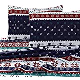 "Tribeca Living Deer Valley Printed 230 GSM Flannel Twill 24"" Extra Deep Pocket Sheet Set, Full, Multicolor"