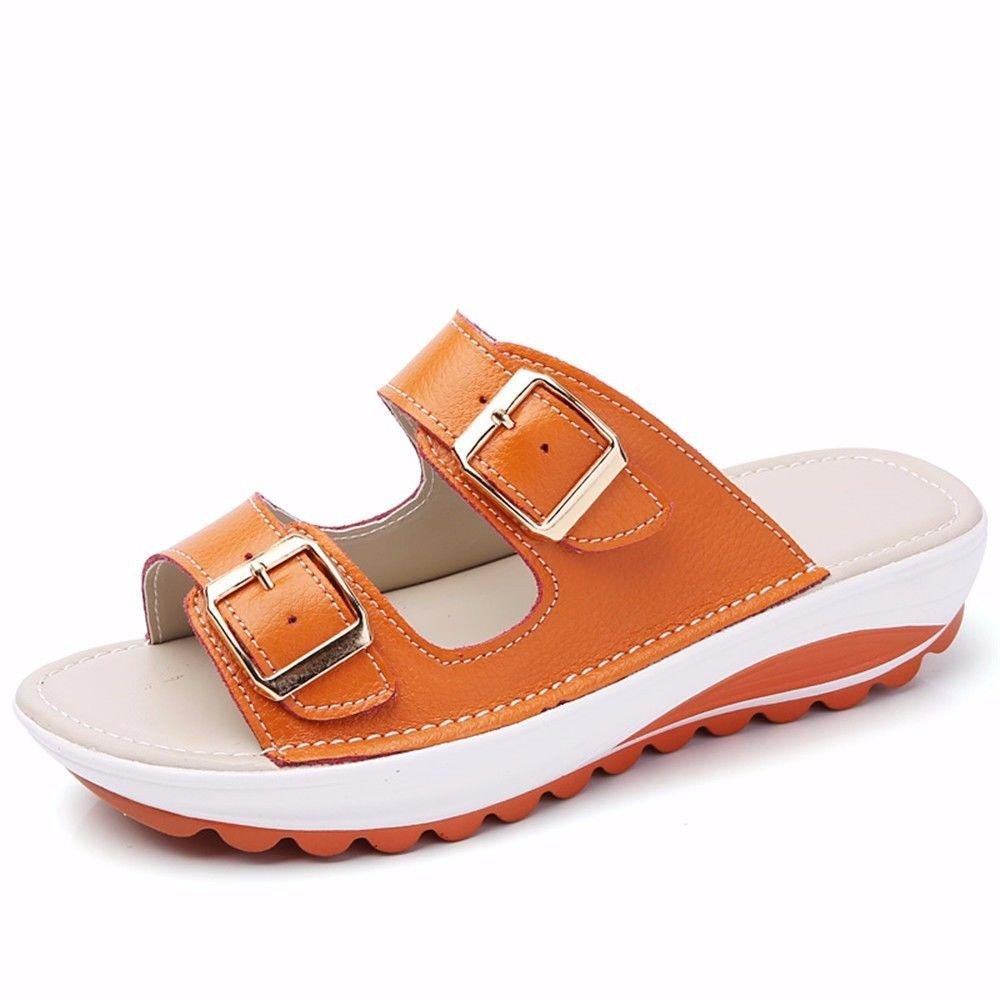BTBTAV Damen Sommer Outdoor Outdoor Sommer Leder Slipper mit Flachem Boden Hausschuhe Europäischen Codes (40) Orange European Code (40) Orange 6e4e32