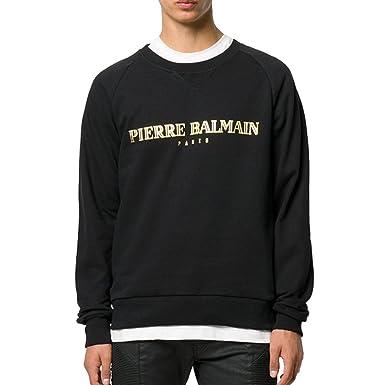 3053bbcc Pierre Balmain Gold Logo Print Sweatshirt, Black (46-Small) at ...