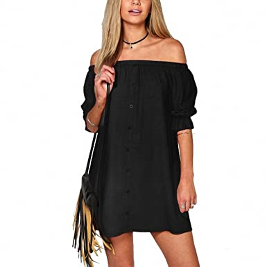 Hot Sexy Women Strapless Off The Shoulder Dress Ladies Casual Club Loose Mini Dresses Girl Vestido