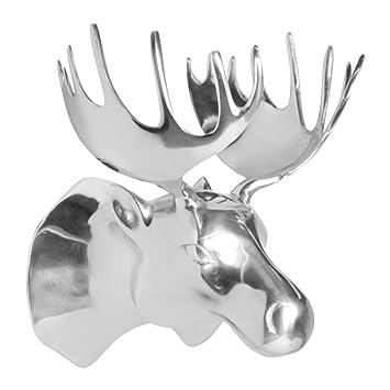 Metall Wand Dekoration Elchkopf Silber 34 X 26 X 26 Cm | Design Metall
