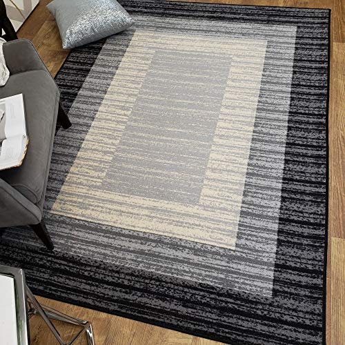 Area Rug 3x5 Gray Border Stripe Kitchen Rugs and mats Rubber Backed Non Skid Living Room Bathroom Nursery Home Decor Under Door Entryway Floor Non Slip Washable | Made in Europe