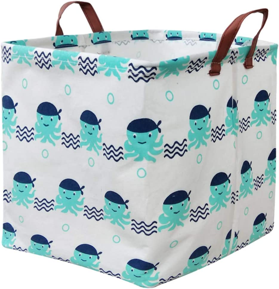 BOOHIT Square Storage Box Basket,Canvas Fabric Toy Collapsible Storage Organizer Bin,PE Waterproof Storage Box,Laundry Basket for Kid Rooms,Playroom,Shelves,Toy Basket,Gift Basket (Octopus)