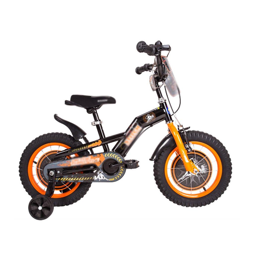 Brilliant firm Carro de bicicleta para niños de acero con alto contenido de carbono Carro de bebé de 2 a 6 años Bicicletas para bebés de 16/14/12 pulgadas (Color : Orange, Size : 14 inches)