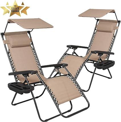 Set of 2 Zero Gravity Chairs Beach Garden Patio Sun loungers Folding Chairs