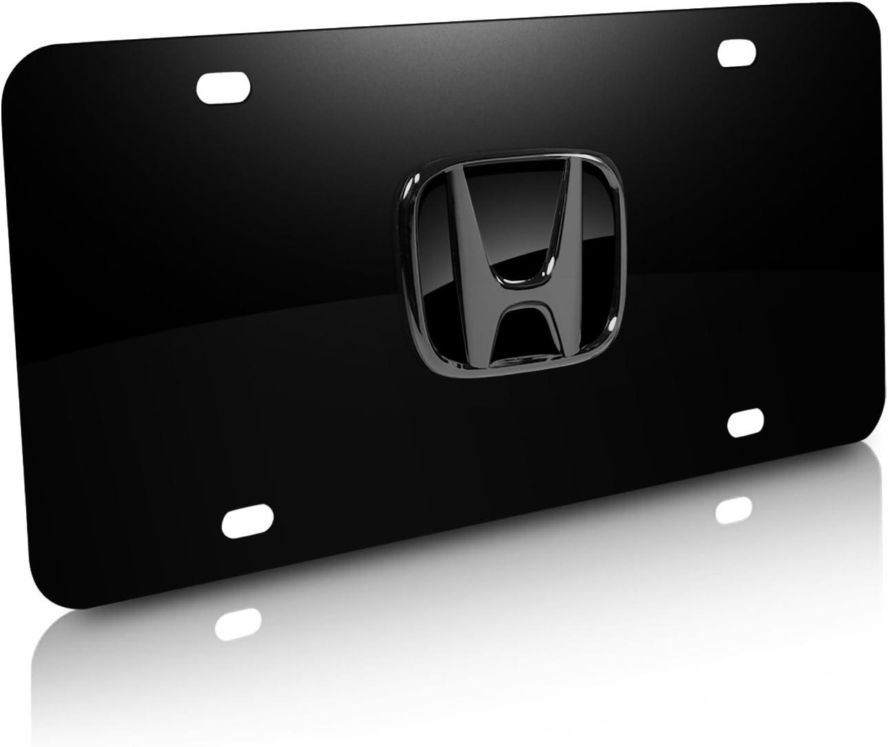 Honda Logo Black and Silver Aluminum Metal License Plate Auto Tag Sign
