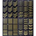 Aysekone 8 Sheets Gold Metal 3D Stripes Wave Line Nail Tips Stickers DIY Self Art Adhesive Manicure Transfer Foils Laser Metal Line Striping Tape Stickers