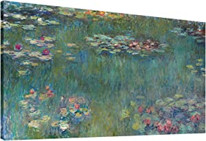 "Canvas Wall Art Water Lilies by Claude Monet Painting Print- Long Green Garden Canvas Artwork Classic Reproductions Contemporary Nature Picture Framed for Home Office Wall Decor 20"" x 40"""