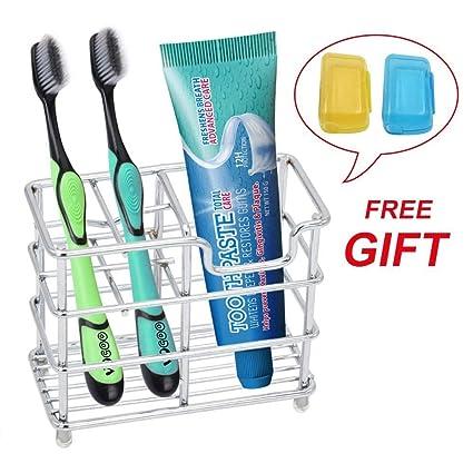 vocoo acero inoxidable cepillo de dientes y pasta de dientes soporte para cuarto de baño vanidad