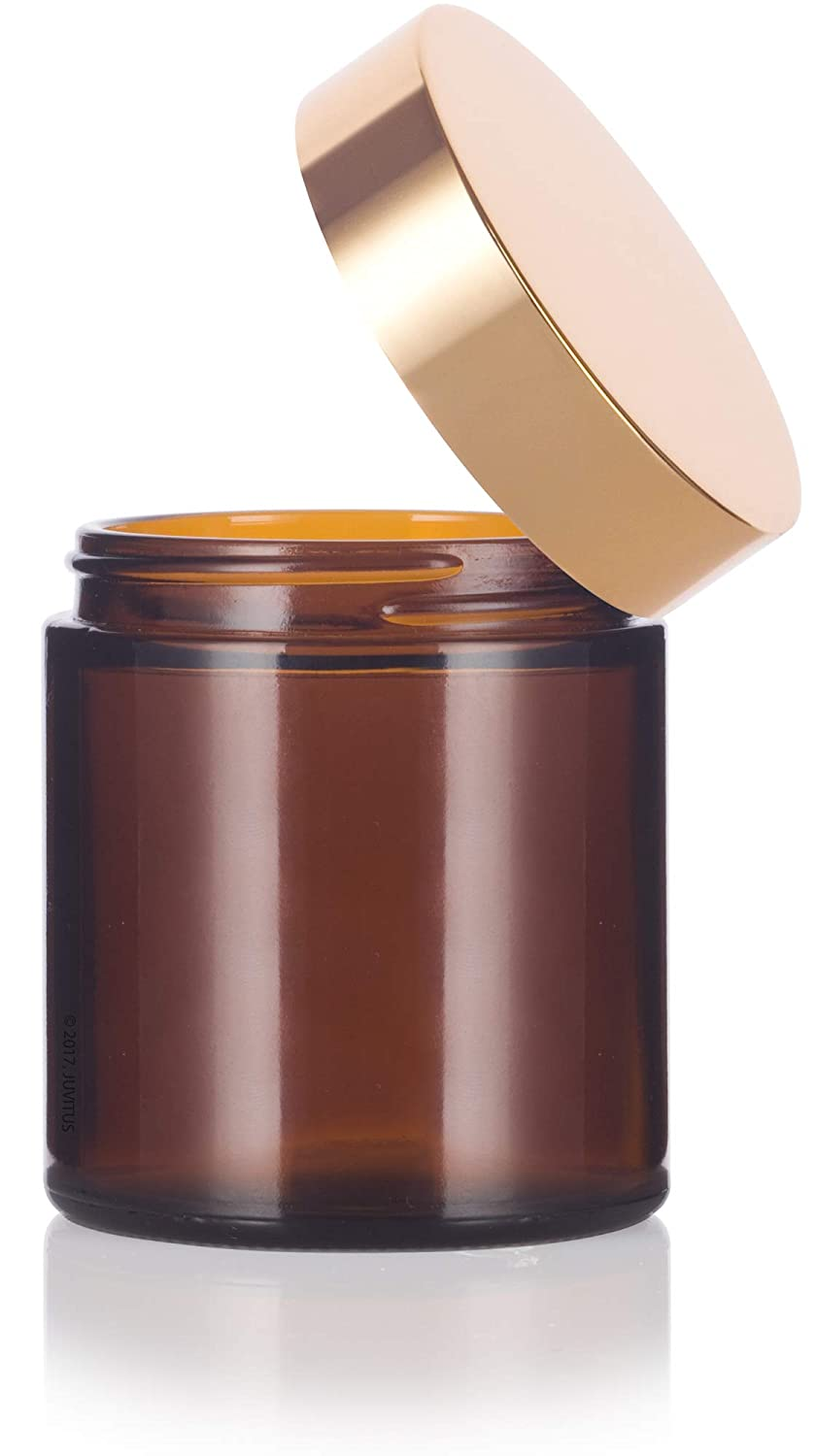 12 pack Amber Thick Glass Straight Sided Jar with Gold Metal Overshell Lid 4 oz // 120 ml + Spatulas and Labels JUVITUS
