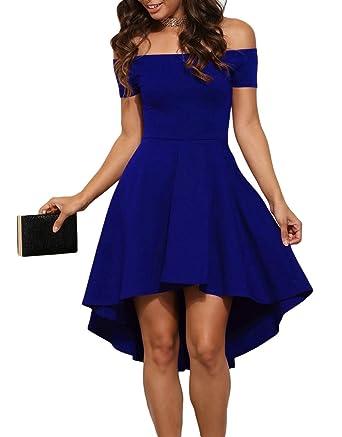 aa3f09756734 Jug&Po Women Off Shoulder Short Sleeve High Low Skater Dress Blue Large