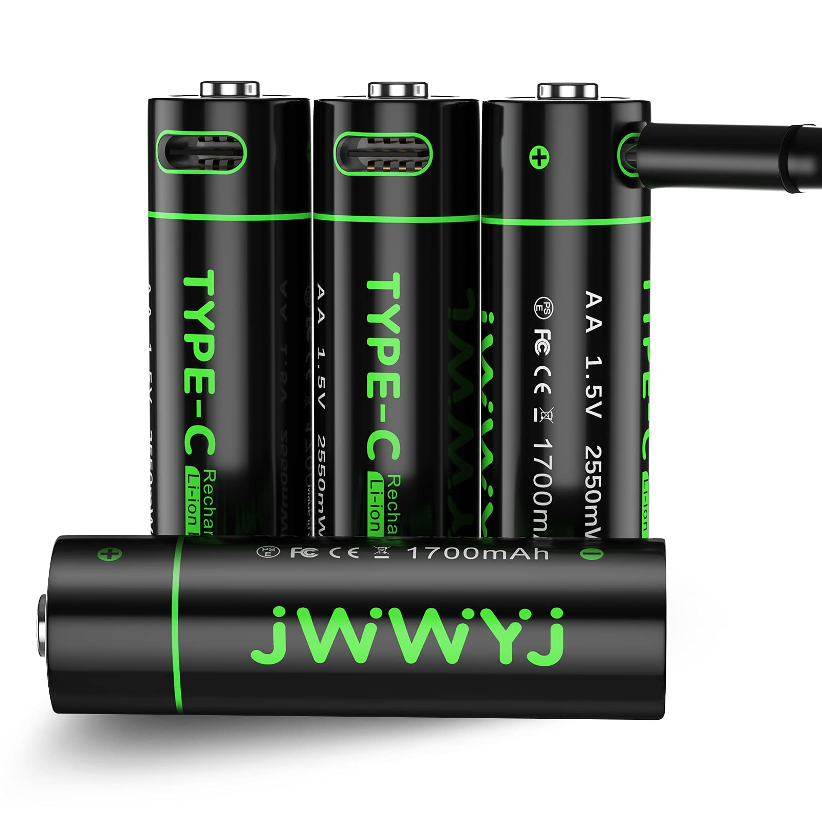 AA Lithium Rechargeable Batteries – 4Pack Smart Rechargeable AA Batteries by JWWYJLithium