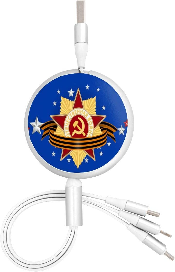 Communism Navy BlueMulti USB Charger Cable Retractable 3.8ft 3 in 1 Multiple Charging Cord Adapter with Mini Type C Micro USB Port Connectors Compatible with Cell Phones Tablets Universal Use