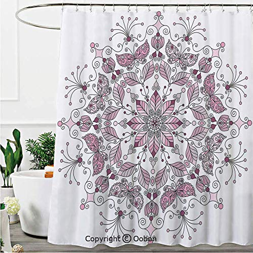 Oobon Shower Curtains, Lacy Pastel Floral with Butterfly and Lotus Figures Meditation Design Decorative, Fabric Bathroom Decor Set with Hooks, 72 x 72 - Lacy Charm Butterfly