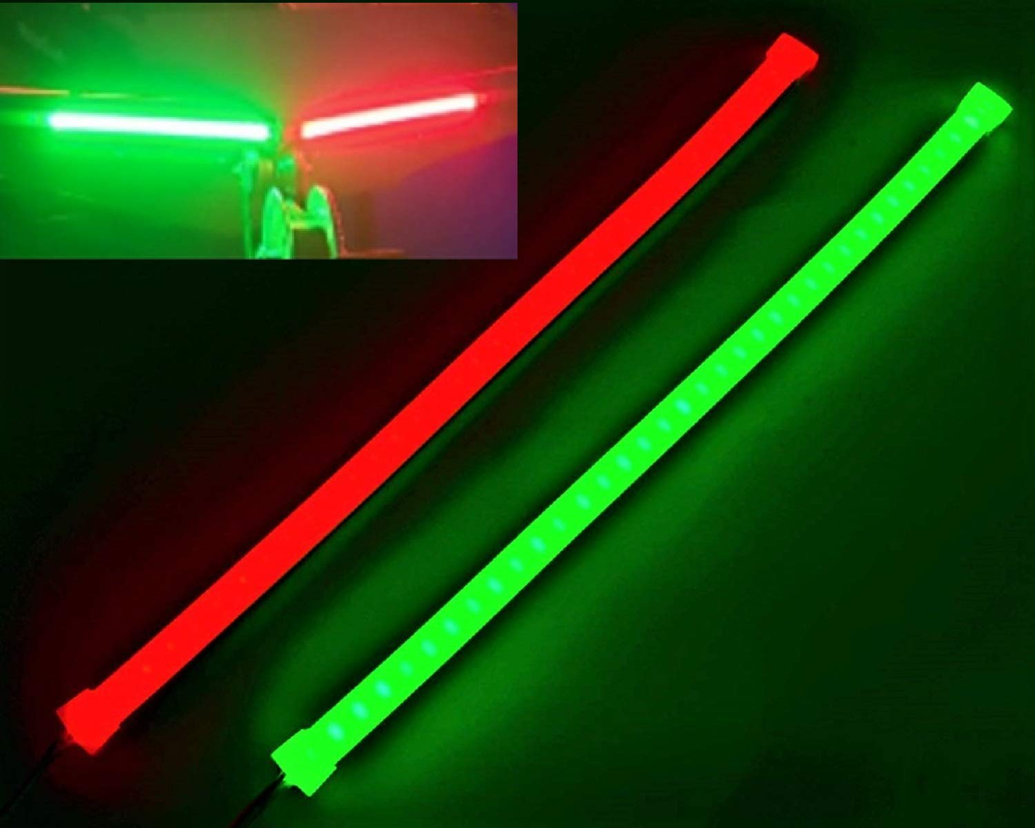 Pimp My Boat Neon Navs, Premium Red & Green Neon Navigation Boat LED Light Strip Kit IP68 Waterproof for Bass Boats, Pontoons, Wave Runners, Kayaks, Ski Boats for Fresh and Saltwater by Green Blob Outdoors