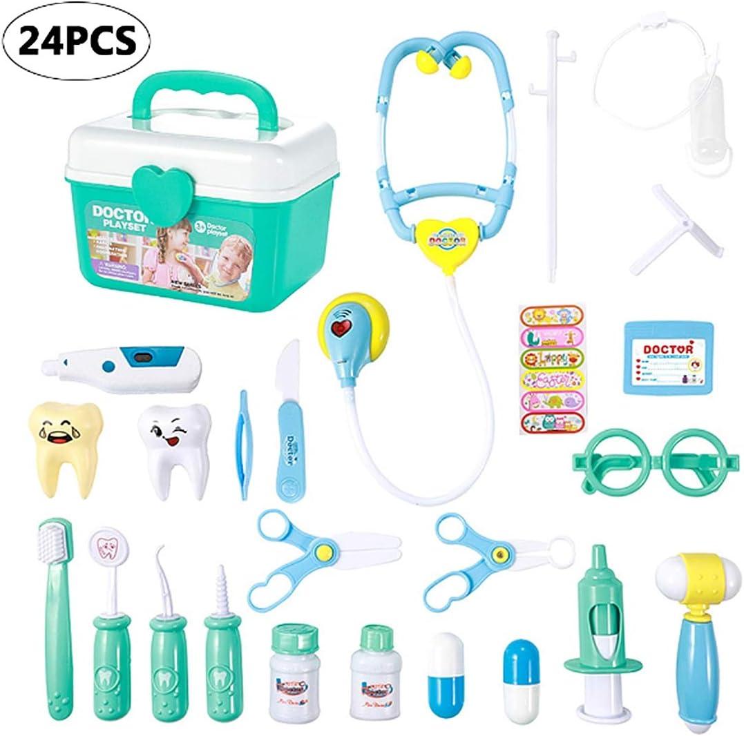 DRAKE18 Los niños Kit Médico, Dentista 24PCS La Caja médica Los Juegos de simulación Juguetes educativos para la Primera bebé Regalos con la Maleta por Edad 3+