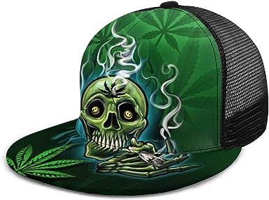 Gorra de béisbol con diseño de Calavera y Hojas de Marihuana ...