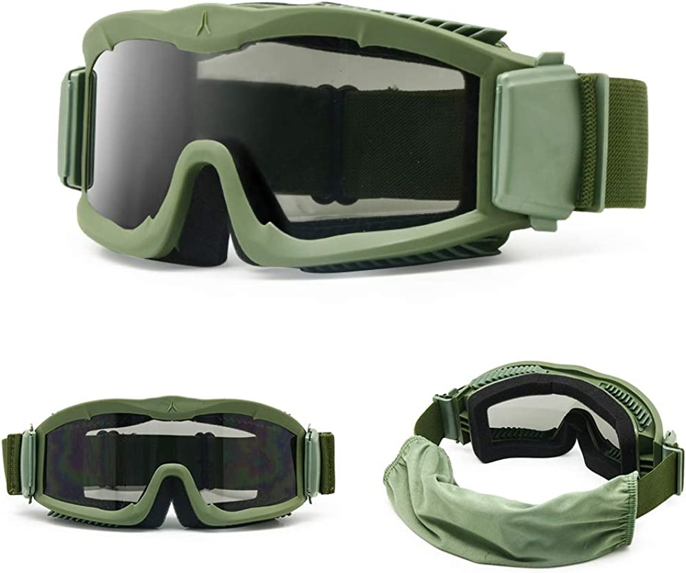 Herren EnzoDate Military Alpha Ballistic Schutzbrille Tactical Armee Sonnenbrille Softair CS Paintball Gl/äser 3 Lens Kit