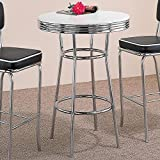 Kitchen Bar Table Coaster Retro Fountain Style Bar Table with White Top and Chrome Finish