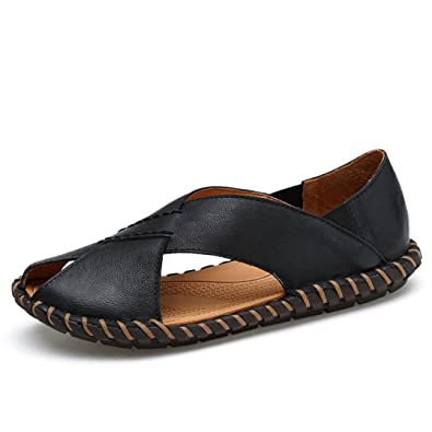 Herren Sandalen Peep-Toe Atmungsaktiv Metall Sommer Modische Bequeme Leichte Entspannt Strandschuhe Khaki 41 EU KjeNtAvc