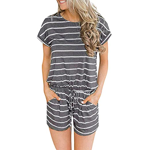 a458b8eea2c BCDshop Women Striped Jumpsuit Rompers Casual Short Sleeve Pockets Elastic  Waist Playsuit(Gray