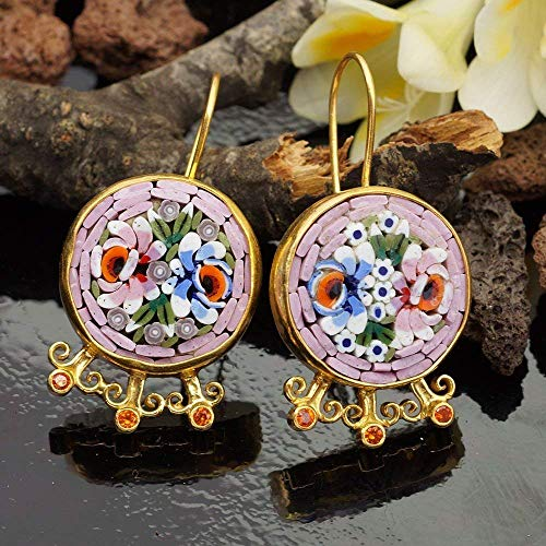 Turkish Sterling Silver 925k Unique Hand Carved Venetian Handset Micro Mosaic W/Orange Topaz Earrings 24k Gold Vermeil Ancient Roman works By -