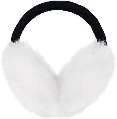Cozy Design Womens Winter Outdoor Warm Adjustable Crocheted Flower Ear Warmers Earmuffs with Faux Fur in Black