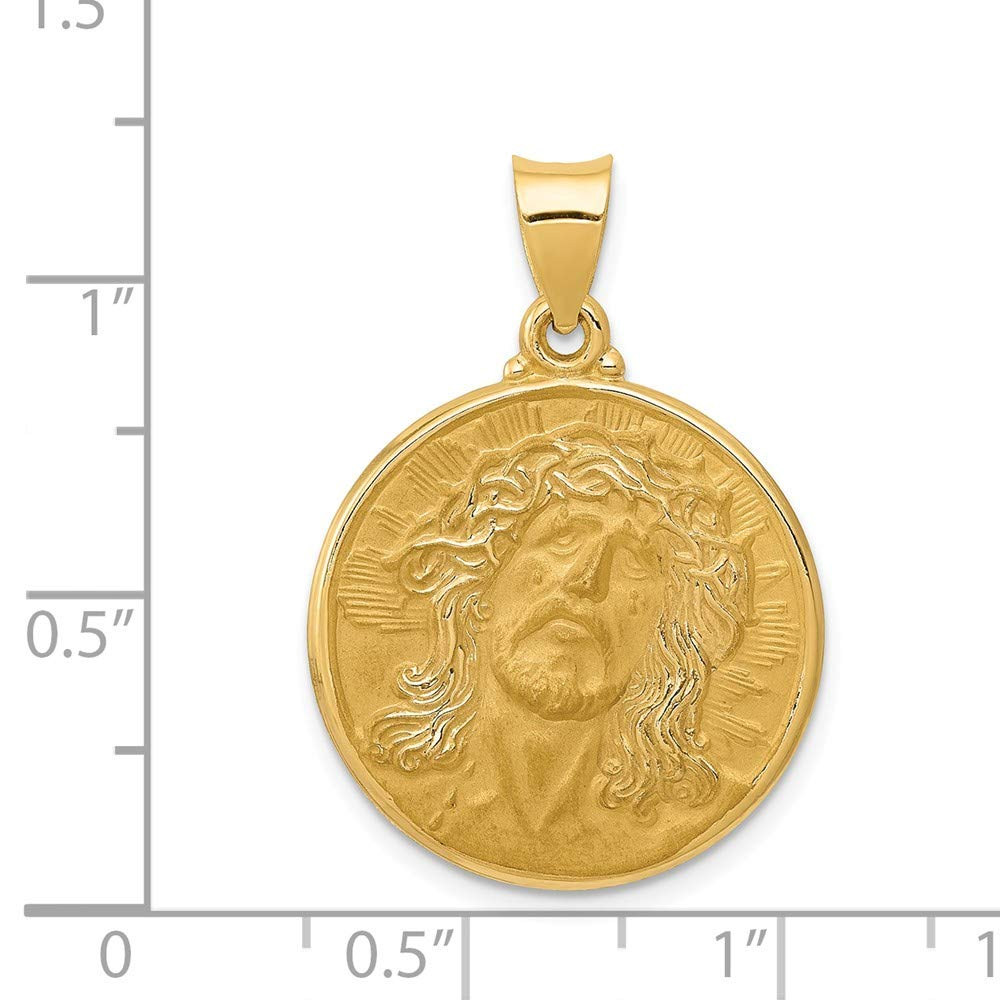 Mia Diamonds 14k Yellow Gold Polished and Satin Face of Jesus Medal Pendant