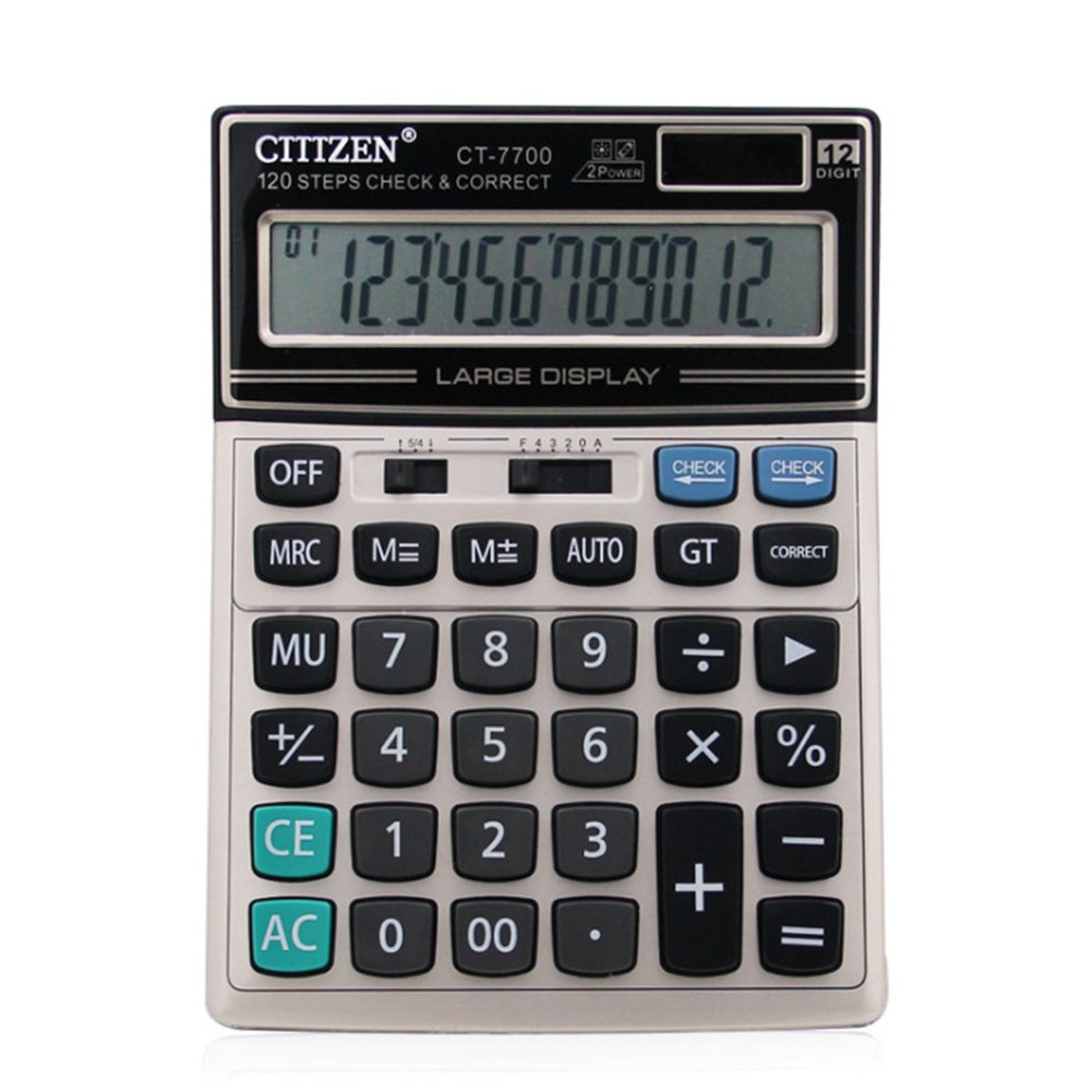 Studyset Financial 12 Digits Solar Battery Portable Desktop Calculator Office Supplies Large Size