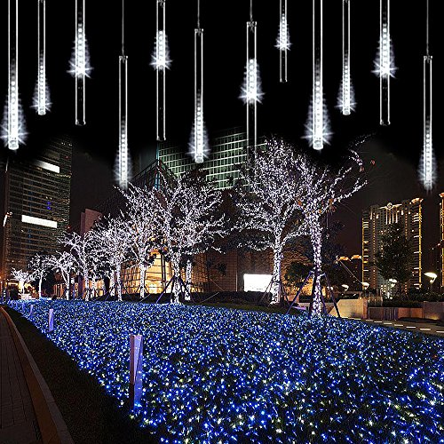 Led Icicle Lights Cool White Blue Dripping
