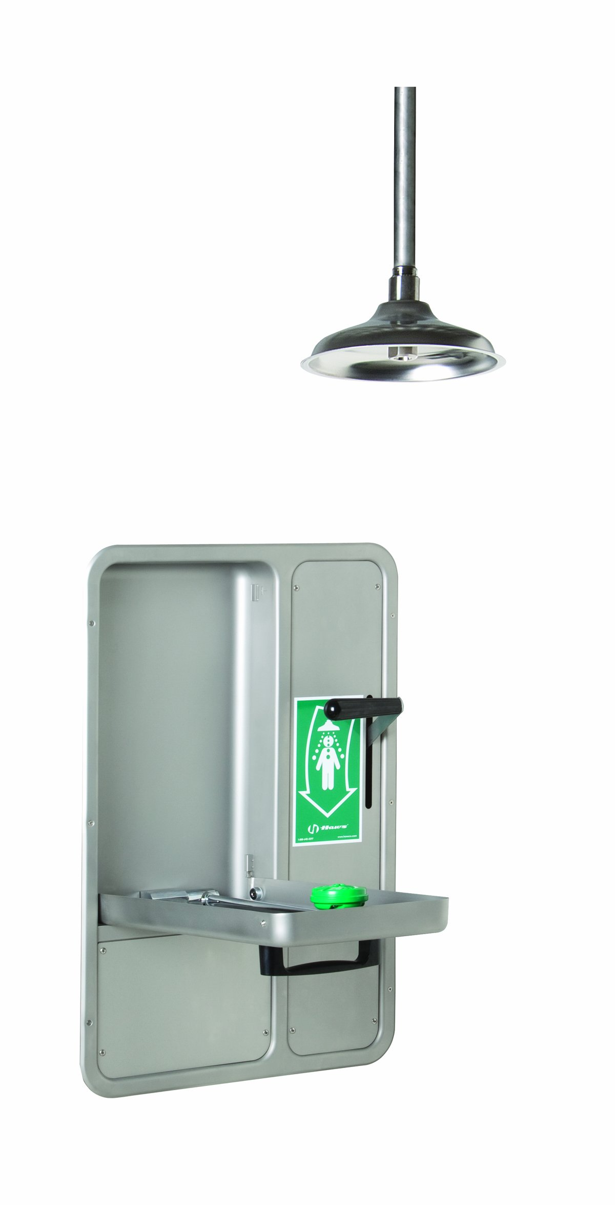 Haws 8356WCC Barrier-Free Wall-Mounted Fully Recessed Combination Shower and Eye/Face Wash