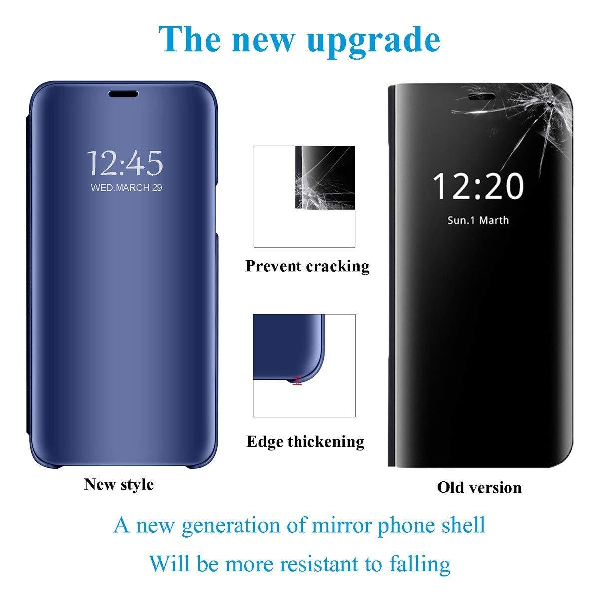 Caler Coque Xiaomi Redmi 6//6/A /Étui Miroir Portefeuille Case Flip Silicone Transparent Wallet en Cuir Bumper Folio de Protection Couverture Mirror Support Shell