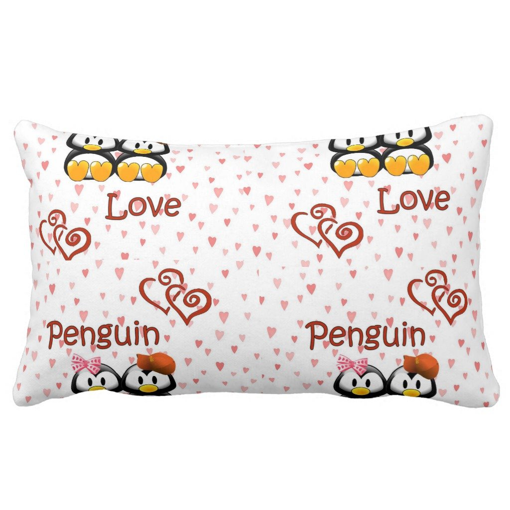 Zazzle Penguin Love Hearts Throw Pillow 13'' x 21'' by Zazzle (Image #2)