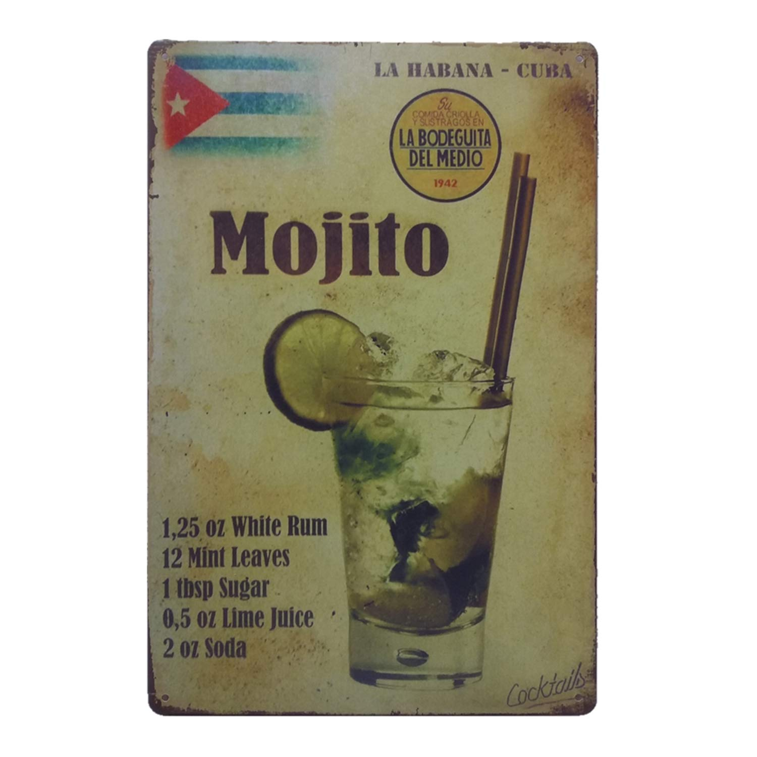 MMOUNT Mojito La Habana Cuba Drink Tin Sign Wall Kitchen Retro Metal Bar Food Style Ornament Coffee Decor Home Gift Size 8 X 12