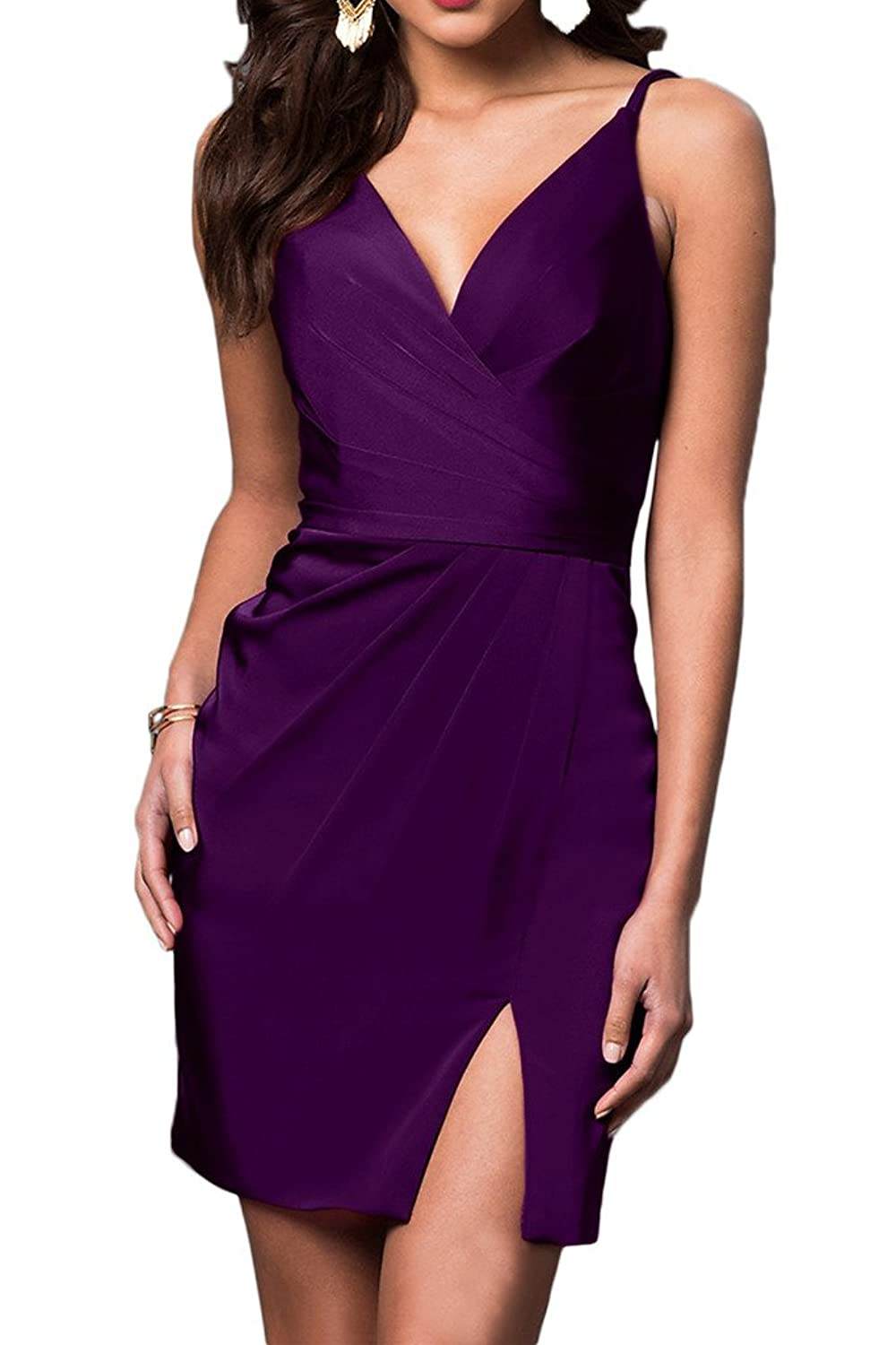 Gorgeous Bride Short Sheath V-neck Cocktail Prom Homecoming Party Dresses