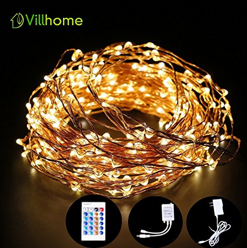 LED String Lights 66ft 200 LEDs, Waterproof, UL Listed, Best Copper Wire String Lights with Remote Controller, String Lights has Warm White Lights (20m)