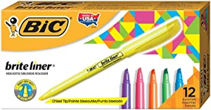 BICBICBL11AST Brite Liner Highlighter, Chisel Tip, Assorted Colors, 12-Count