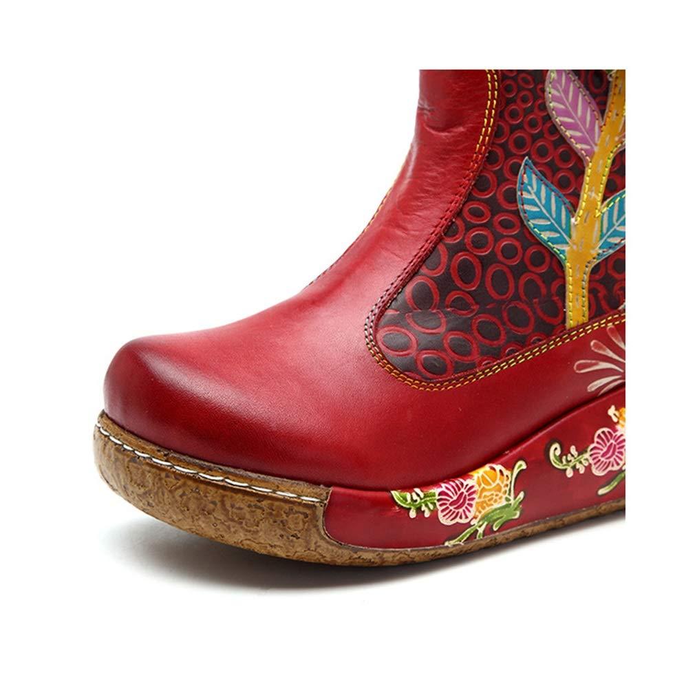 Hy Frauen Booties Leder Herbst Lace-up Winter Lace-up Herbst Freizeitschuhe, Mode handgefertigt Retro Fine Printing Mode Stiefel, Damen Dicke Ferse Ankle Stiefel (Farbe   Lila, Größe   41) f0971d