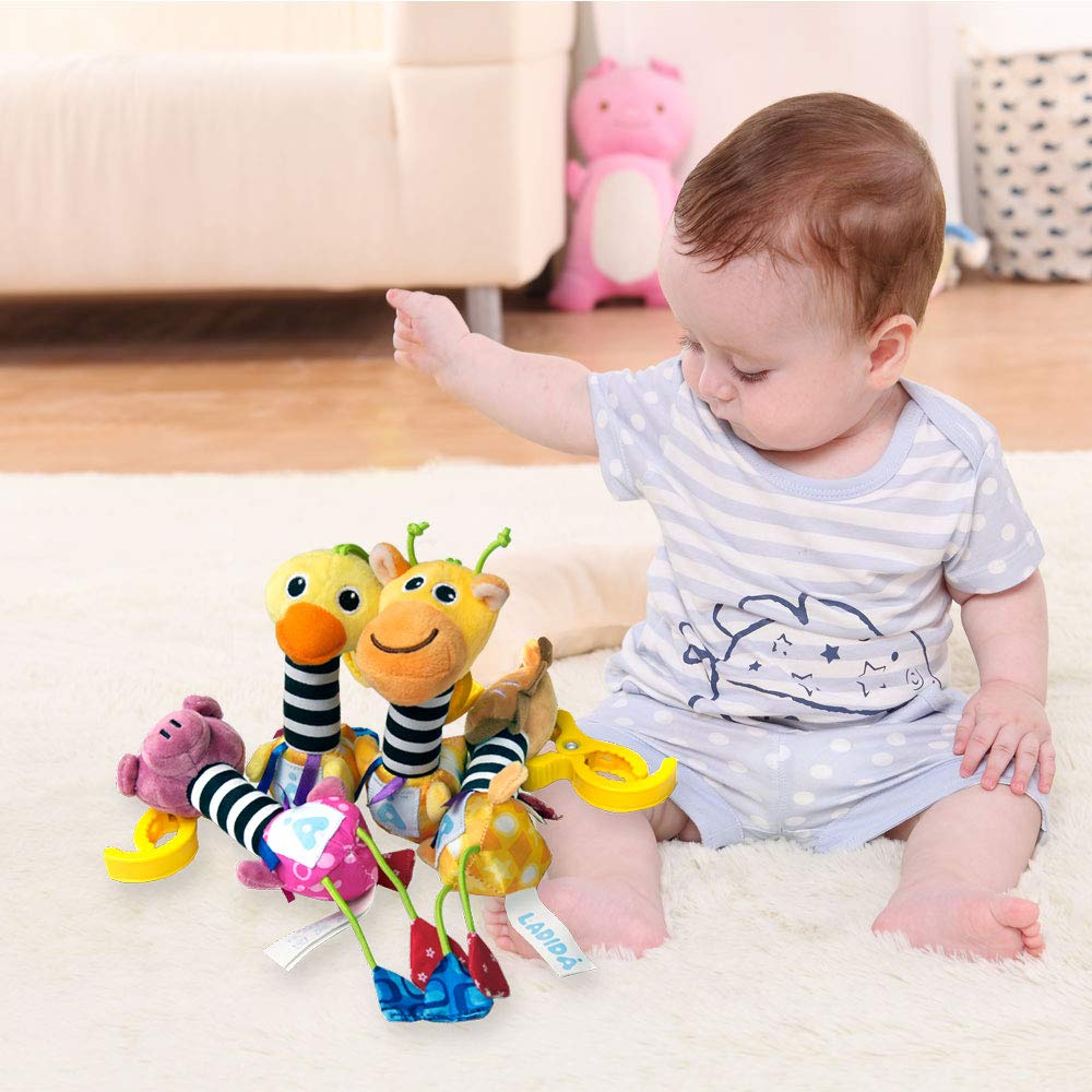 LADIDA Animal Infant Stroller Toys,4 Style Infant Baby Kids Wind Bell Sound Toys and 2 Style Stretching Vibration Animal Baby Bed Pendant for Kids
