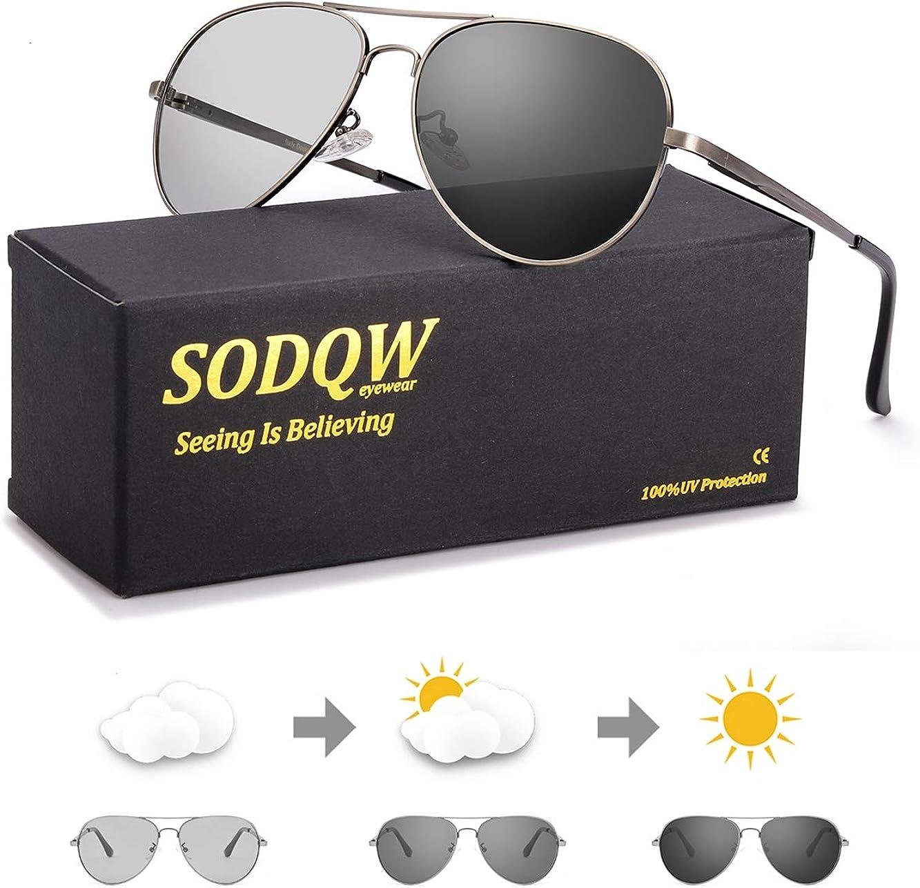 SODQW gafas de sol fotocromaticas polarizadas hombre 100% UVA/UVB Protección