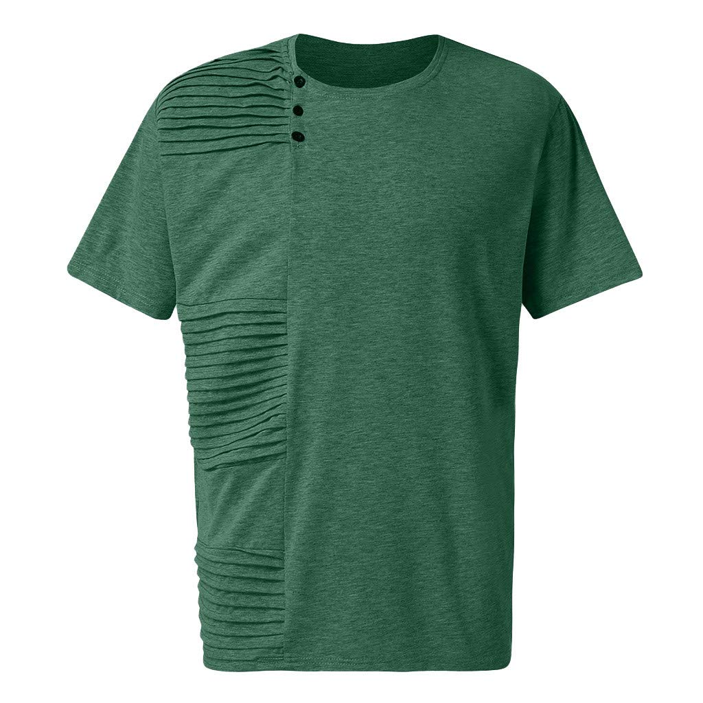 Mens Fashion Summer Casual Solid Color Pleated Short Sleeve T-Shirt Blouse Top