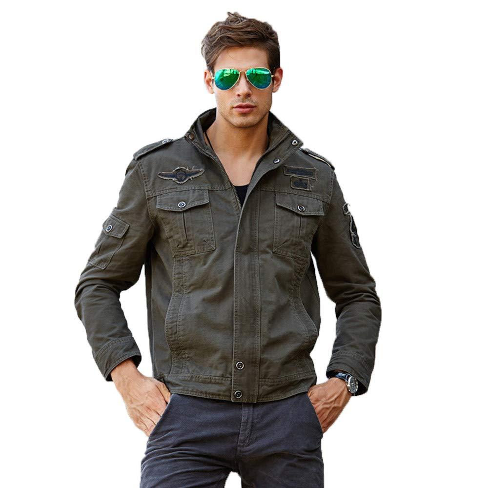 G-Real Men's Zipper Casual Winter Cotton Military Jackets Outdoor Coat Windproof Windbreaker