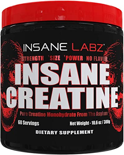 Insane Labz Insane Creatine Monohydrate Powder – Unflavored, Pre Workout, Post Workout, Strength Size Power,11.1 oz 60 Srvgs