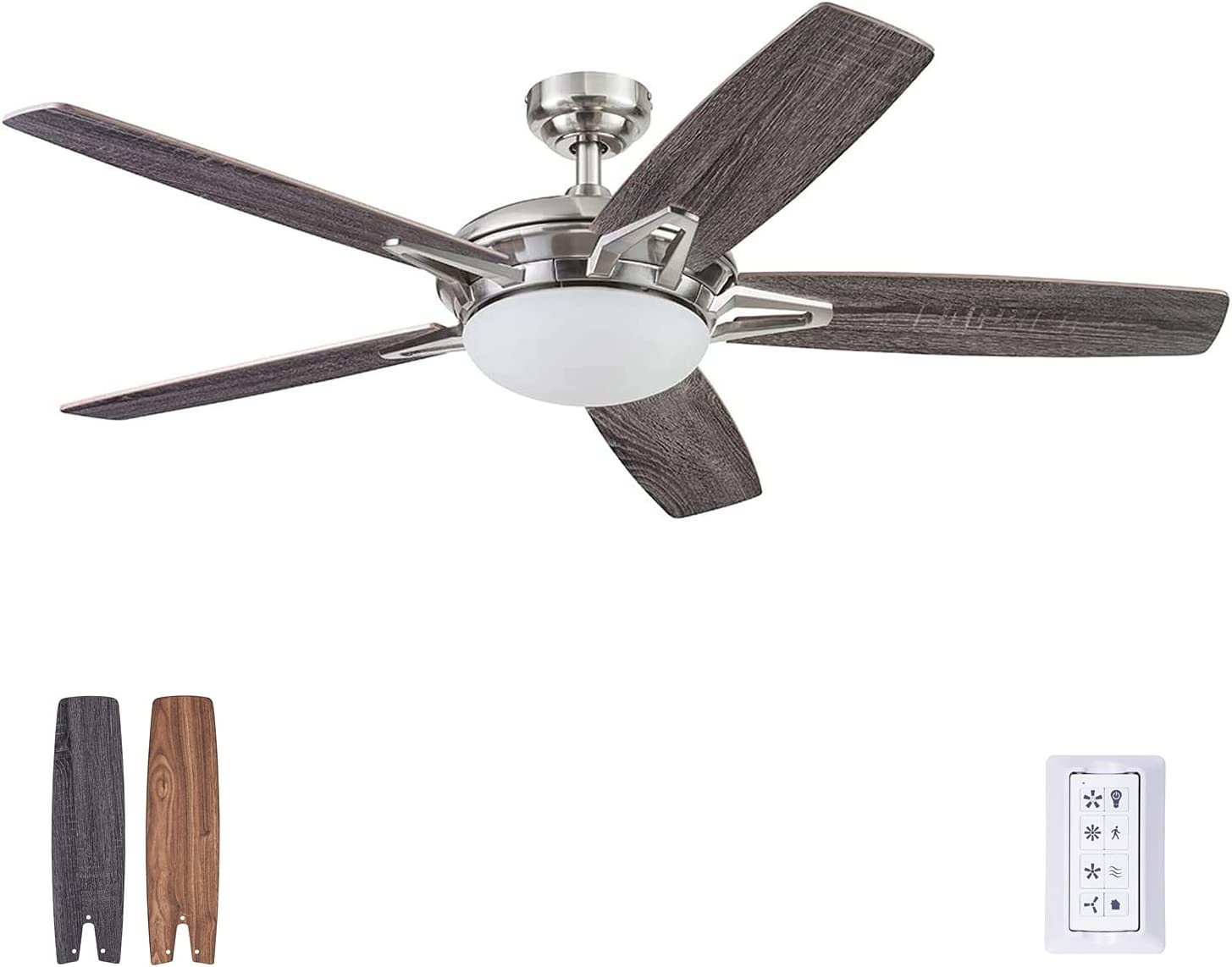 Prominence Home 51482-01 Clancy Ceiling Fan, 52, Brushed Nickel