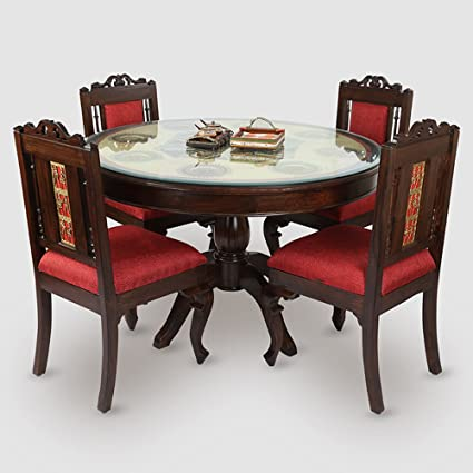 Exclusivelane Teak Wood Round Dining Table In Warli And