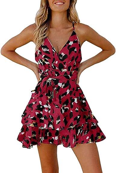 UK Women Short Sleeve Leopard Print Swing Dress V-neck Summer Beach Mini Dresses