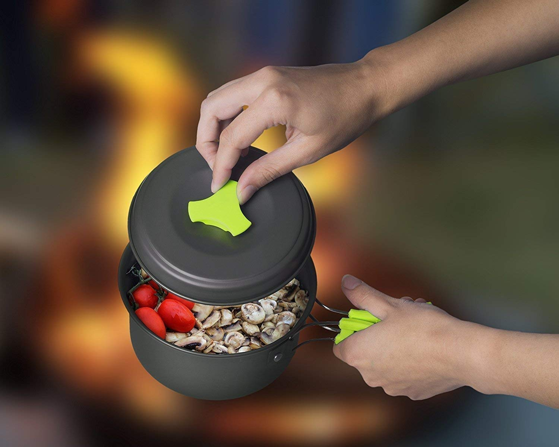 Camping Cookware Mess Kit Backpacking Gear /& Hiking Outdoors Bug Out Bag Cooking Equipment 10 Piece Cookset Lightweight Durable Pot Pan Bowls Compact Free Folding Spork Nylon Bag 1 Liter