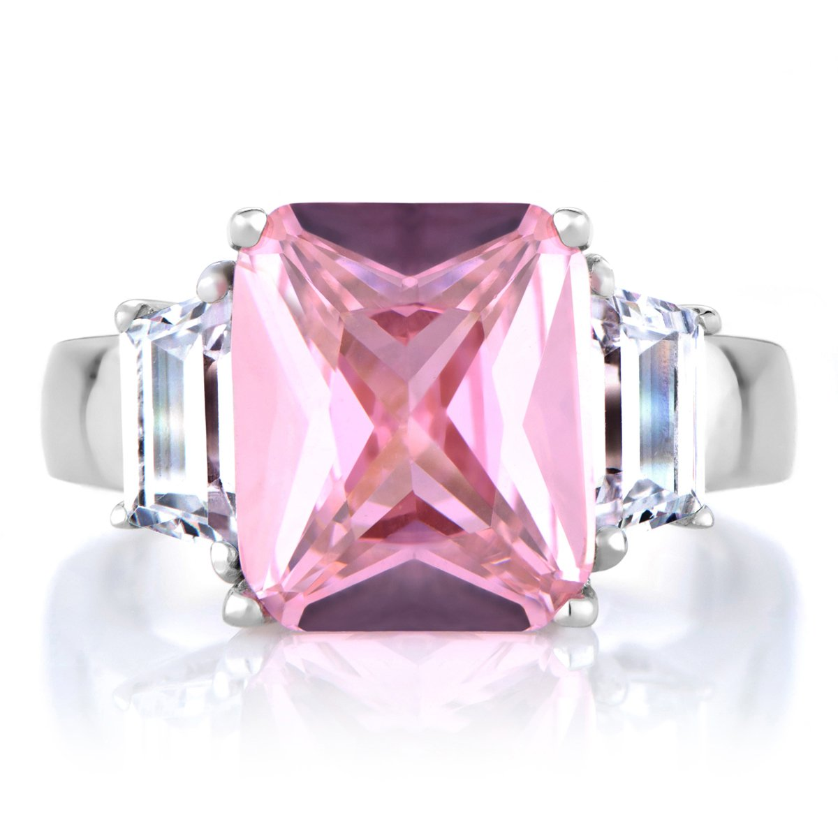Perfectly Pink Emerald Cut CZ Engagement Ring | Amazon.com