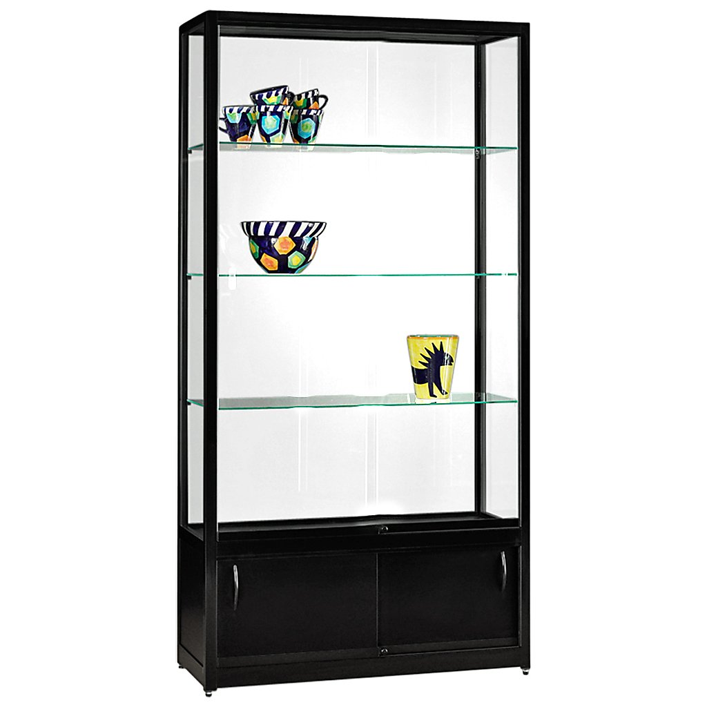 vitrine glasvitrine standvitrine sammlervitrine eco 1000 alu schwarz glas abschlie bar mit. Black Bedroom Furniture Sets. Home Design Ideas